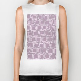 Lilac paper with white squares drawn by hand Biker Tank