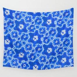 tie dye florals in ultramarine Wall Tapestry