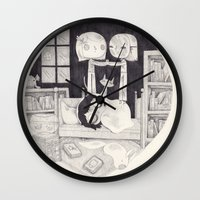 neil gaiman Wall Clocks featuring neil gaiman by yohan sacre