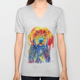 Colorful Tie Dye Wirehaired Pointing Griffon Unisex V-Neck