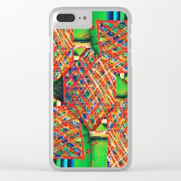 number 246 lime green yellow blue  pattern Clear iPhone Case