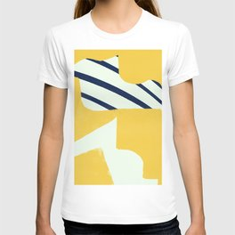 Motion abstraction in mustard and blue #706 T-shirt