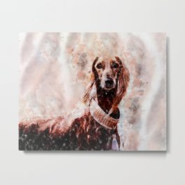 Borzoi Dog Portrait Metal Print
