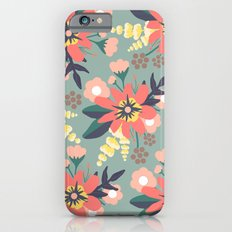 Coral and Seafoam Floral Print Slim Case iPhone 6s