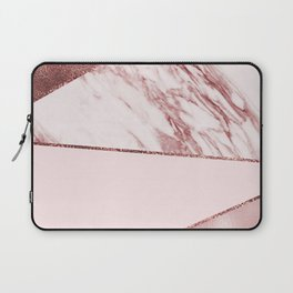 Spliced mixed pinks rose gold marble Laptop Sleeve