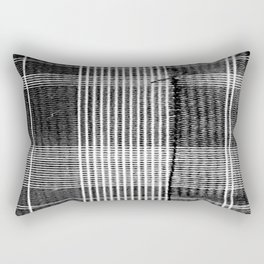 Stitched Plaid in Black and White Rectangular Pillow