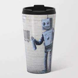 Banksy Robot (Coney Island, NYC) Travel Mug