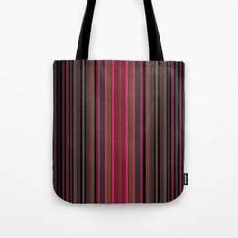 Multi-colored striped pattern in Magenta , black and brown tones . Tote Bag
