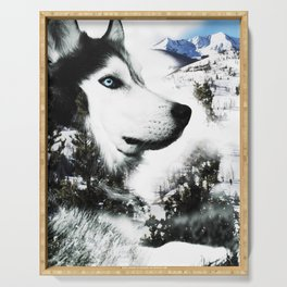 The Husky's Mountain Gaze by Vince Bongiovanni Serving Tray