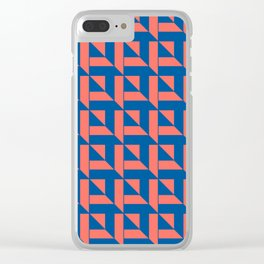 Squares Pattern - Living Coral + Blue Clear iPhone Case