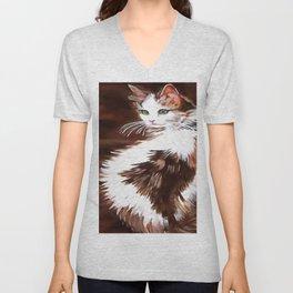 Elegant Long Haired Bi-Colored Cat Unisex V-Neck
