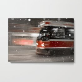 Snowy Night on Gerrard Street East, Toronto Metal Print