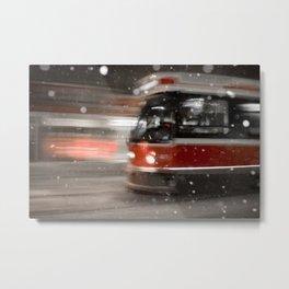 Snowy Night on Gerrard Street East, Toronto Metal Print