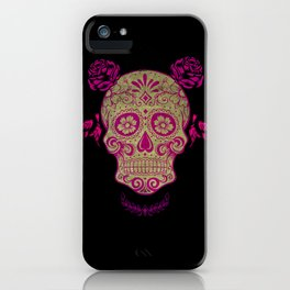 Sugar Skull Green and Pink iPhone Case