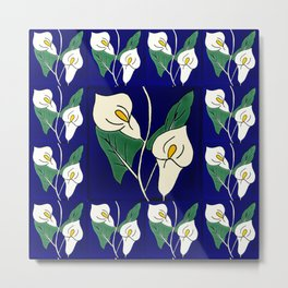 TALAVERA MEXICAN TILE WITH A FLOWER IN BLU Metal Print