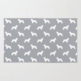Cocker Spaniel grey and white minimal modern pet art dog silhouette dog breeds pattern Rug