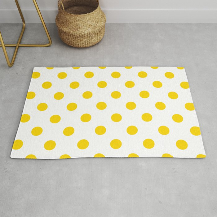 Polka Dots Gold Yellow On White Rug By Polkadots