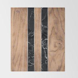 Wood Grain Stripes Black Granite #175 Throw Blanket