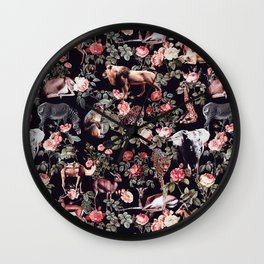 Animals and Floral Pattern Wall Clock