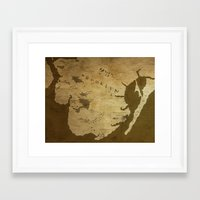 westeros Framed Art Prints featuring Fantasy Map of Brooklyn: Brown Parchment by Midgard Maps