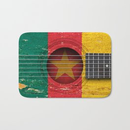 Old Vintage Acoustic Guitar with Cameroon Flag Bath Mat