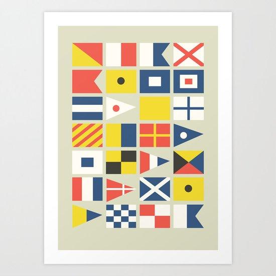 Geometric Nautical flag and pennant Art Print