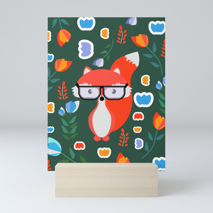 Fox with glasses and flowers Mini Art Print