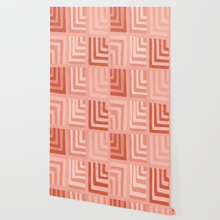 Painted Color Block Squares In Peach Wallpaper