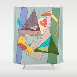 bird and heart two tribes Shower Curtain