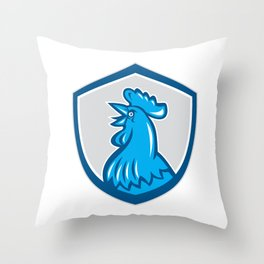 Chicken Rooster Head Crowing Shield Retro Throw Pillow