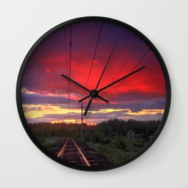 Northern sunset and a railway Wall Clock