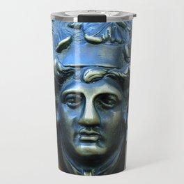 Polished Metal Door Knocker Face with Headdress on Wooden Door in Rome Italy October 2000 Travel Mug