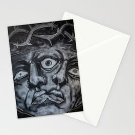 Mural graffiti of two faces that merge with a crown of thorns Stationery Cards