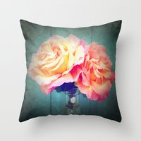 vintage flowers Throw Pillows featuring Vintage Flowers by 2sweet4words Designs