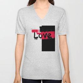 Black and red white pattern Love . Unisex V-Neck