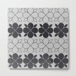 Black and Grey Flower Tile Metal Print
