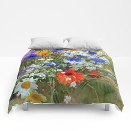 Wildflowers in a summer meadow Comforters