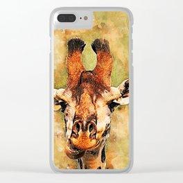 Giraffe art #giraffe #animals Clear iPhone Case