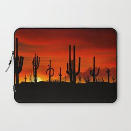 Illustration of cactus tree when the sunset Laptop Sleeve