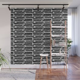 Black Painted Slabwork Bricks on White Wall Mural