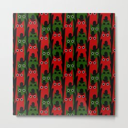 Christmas Cats and Mittens (Red and Green) Metal Print