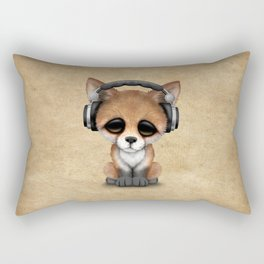 Cute Red Fox Cub Dj Wearing Headphones Rectangular Pillow