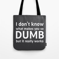 sarcasm Tote Bags featuring Sarcasm Quote by JasmineLeflore