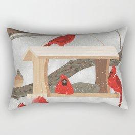 Cardinals at bird feeder Rectangular Pillow