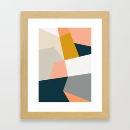 Abstract Geometric 27 Navy Framed Art Print