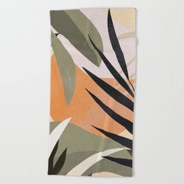 Abstract Art Tropical Leaves 2 Beach Towel