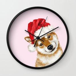 Christmas Shiba Inu Wall Clock
