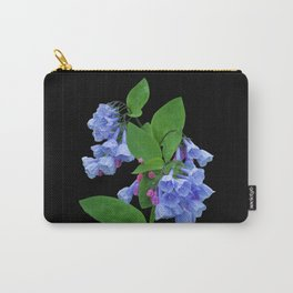 Spring Bluebells on black Carry-All Pouch