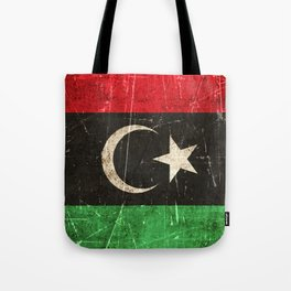 Vintage Aged and Scratched Libyan Flag Tote Bag