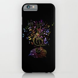 Glowing Treble Clef tree with colorful Music Notes iPhone Case